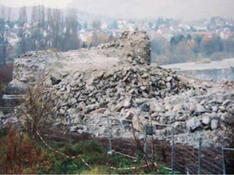 Abbruch der Eisenbahnbrücke bei Münster-Sarmsheim